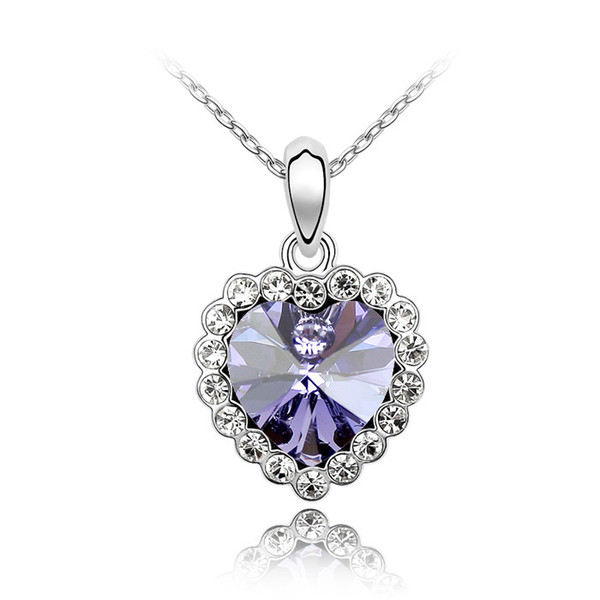 9 colors heart pendant necklace Made with Austrian Crystals from Swarovski for women gift