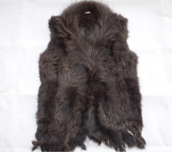 Women vest rabbit hair weaving ma3 jia3 raccoon fur collars vest fashionable tassel knitted vest in Europe and America