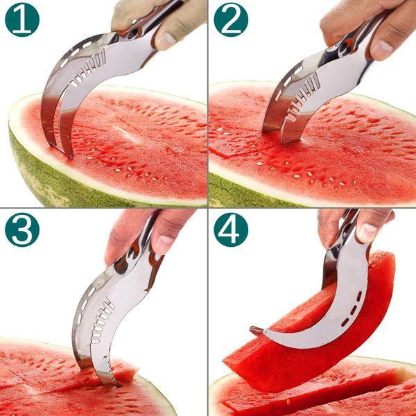 Stainless Steel Watermelon Slicer Cutter Knife Corer Fruit Vegetable Tools Kitchen Gadgets 20.8*2.6*2.8CM