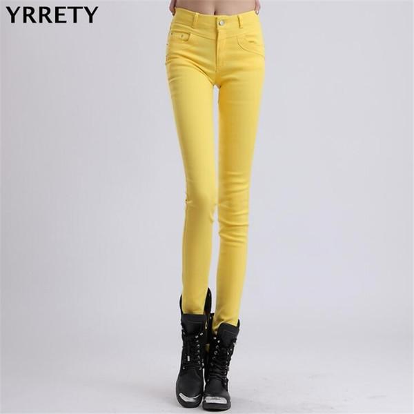 YRRETY Woman Jeans Solid Pencil Women Pants Girls Sweet Candy Color Slim Trousers Femme Pantalon Good Quality Women Leggings D1892501