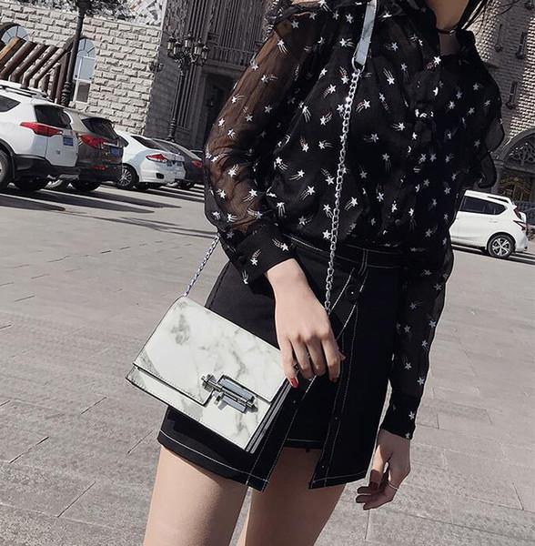 Free Shiipping 2018 Nouveau Design été nouveau modèle en marbre Sacs à main sac à bandoulière chaîne personnalité mortaise sauvage sac Messenger
