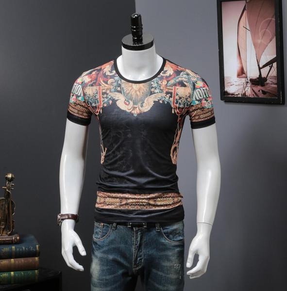Verão Slim Fit Camiseta asiática tamanho M para 3XL Men novo design T-shirt