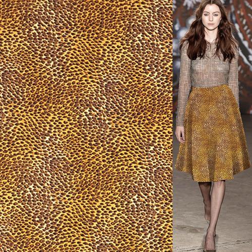 Golden und schwarz Mini Leopardenmuster Seide Stretch Satin Stoff 108cm Breite, SSC346