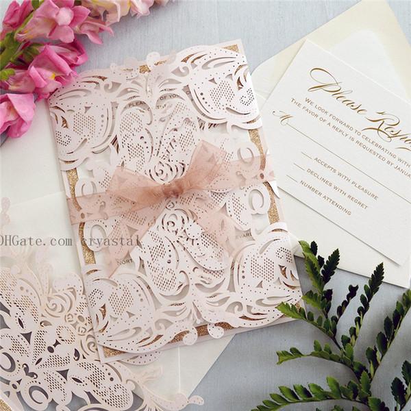 best selling MELISSA ROSE GOLD Glitter - Blush Laser Cut Wedding Invitation with Rose Gold Glitter and Sheer Ribbon - Elegant Laser Cut Invite