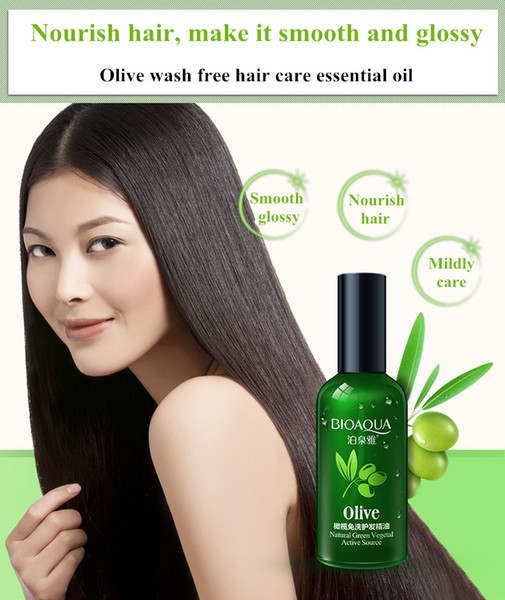 Free shipping 60ml Olive extract wash free hair care essential oil improve dryness smooth glossy nourish and moist hair