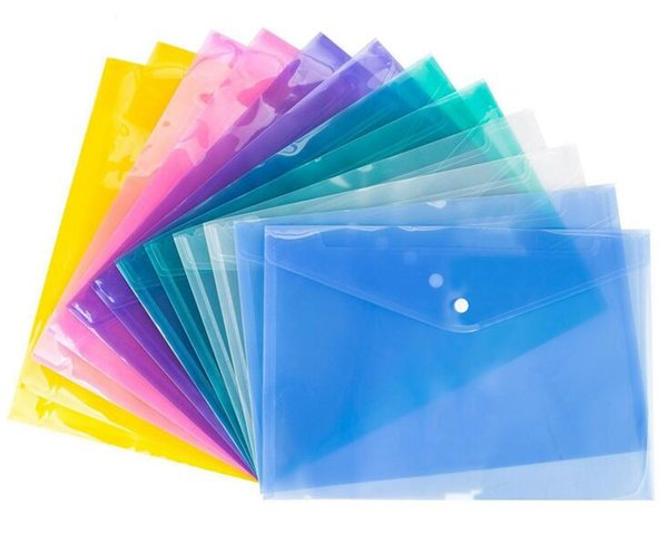 Pasta De Arquivo A4 Transparente De Plástico Saco De Documento Hasp Button Armazenamento De Artigos De Papelaria De Arquivo Saco De Arquivo De Armazenamento Classificados Suprimentos 1 lote = 12 pcs = 1 cor