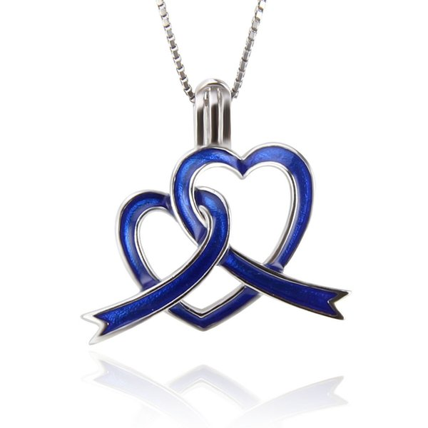 Autism 925 sterling silver Blue Ribbons Pearl Cage pendants DIY charms , 19.6*21.4*9.8mm, Fashion Jewelry, Jewelry Making