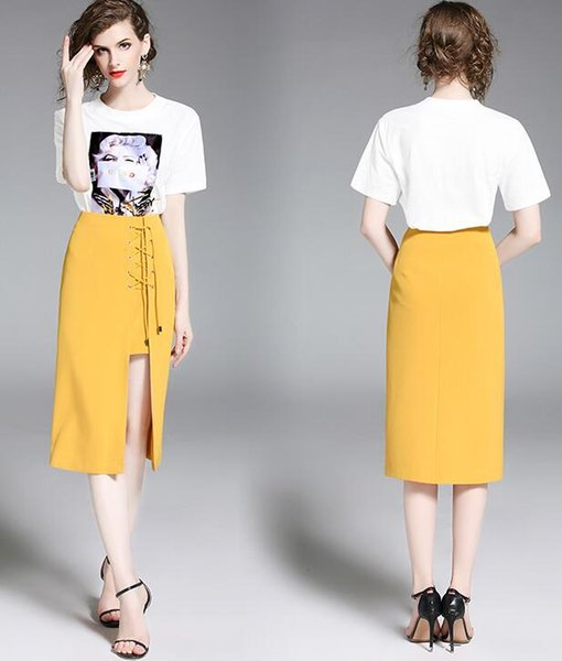 Summer New Yellow Short sleeve Fashion Set Medium style Package buttocks two-piece dress Dress Women's Casual Dresses