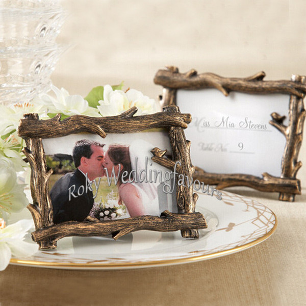 Free shipment 50PCS Rustic Tree Branch Mini Photo Frame Place Card Holder Wedding Favors Party Table Decor Event Gift Bridal Shower Ideas