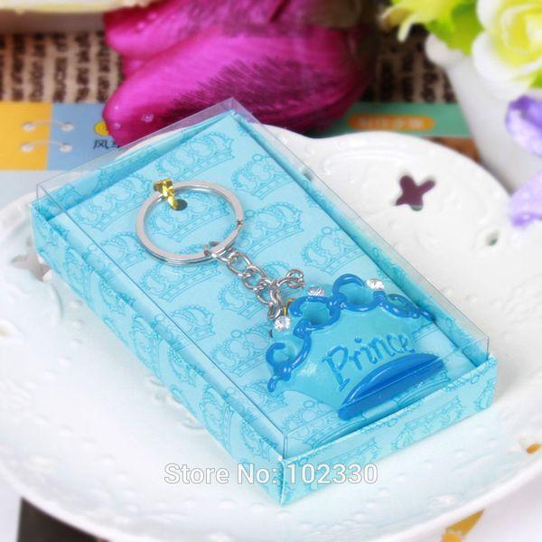 100 stücke Rosa Prinzessin Blue Prince Crown Design Schlüsselanhänger Braut Hochzeit Baby Shower Favor Geschenke Schlüsselanhänger Weihnachtsgeschenk