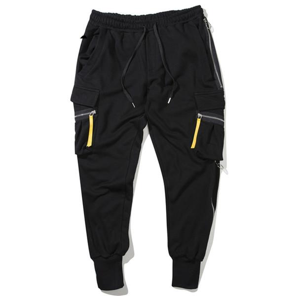 Großhandel Schwarze Baumwolle Männer Sweatpant Reißverschluss Hip Tasche Seitlichem Jogger Sweat Hose 100 Streetwear Harem Hop Junge Y6f7ybg