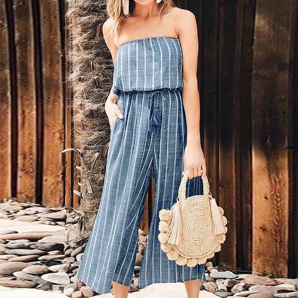 2018 Plus Size ZANZEA Summer Casual Women Sexy Off Shoulder Elastic Waist Striped Long Loose Playsuit Overalls Wide Leg Jumpsuit