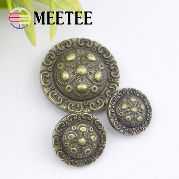 Meetee Retro Metal Ancient button Ways Design Snap Fastener Leather Wallet Snap Combined Buttons DIY Garment Accessories