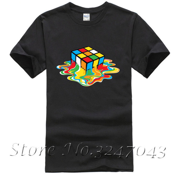 Erime Rubix Küp Sheldon Teori Esinlenerek Mens T-Shirt Pamuk Moda Erkekler T Gömlek