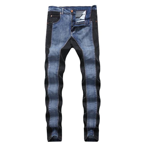 2018 Mens Stripe Denim Jeans Casual Biker Slim Straight Pants Hombres Blue Designer Splice Jeans 38 40 Plus Size, 1018