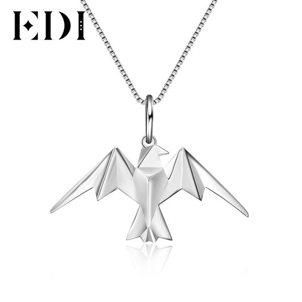 EDI Lovely Eagle Anmial 100% 925 Sterling Silver Pendants For Women Necklaces Trendy Style Fine Jewelry