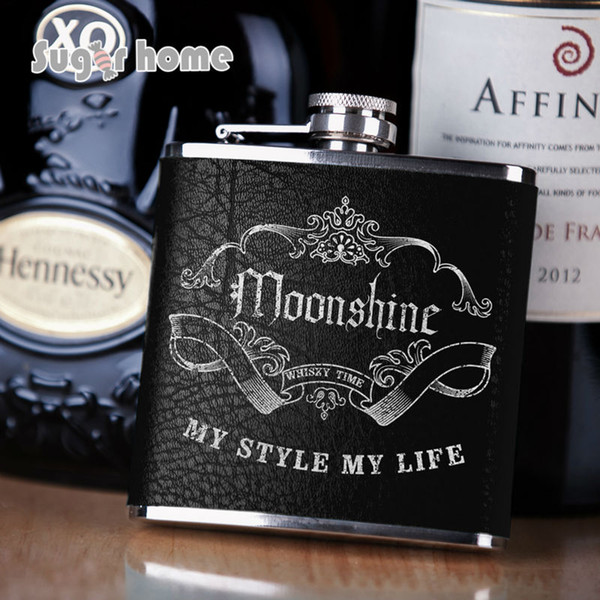 Mealivos Portable 6 oz Stainless Steel Hip Flask drinkware Alcohol Liquor Whiskey Bottle silver stamp leather wrapped gifts