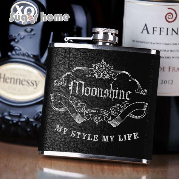 Mealivos Portable 6 oz Acero inoxidable Hip Frasco Drinkware Alcohol Licor Botella de whisky Sello de plata envuelto en cuero regalos
