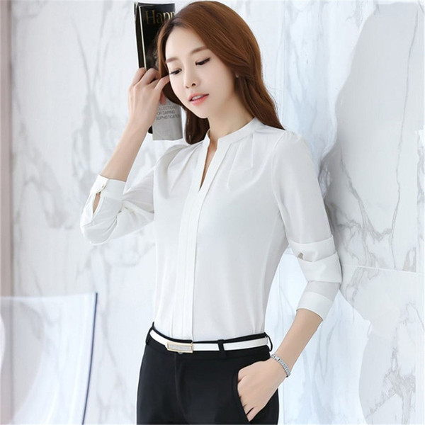 2d9e0488f57 2018 Korea Fashion blouse women V-Neck shirt summer Work Wear Office ladies  top Pink White Long Sleeve Female plus size blouse