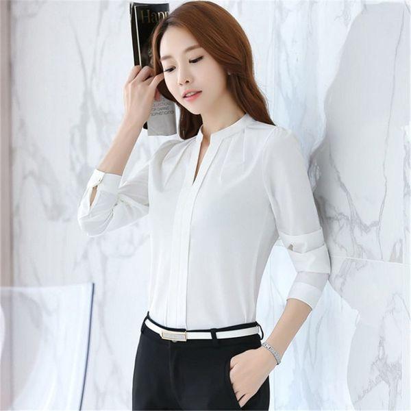 2b176c1e4 2018 Korea Fashion blouse women V-Neck shirt summer Work Wear Office ladies  top Pink White Long Sleeve Female plus size blouse