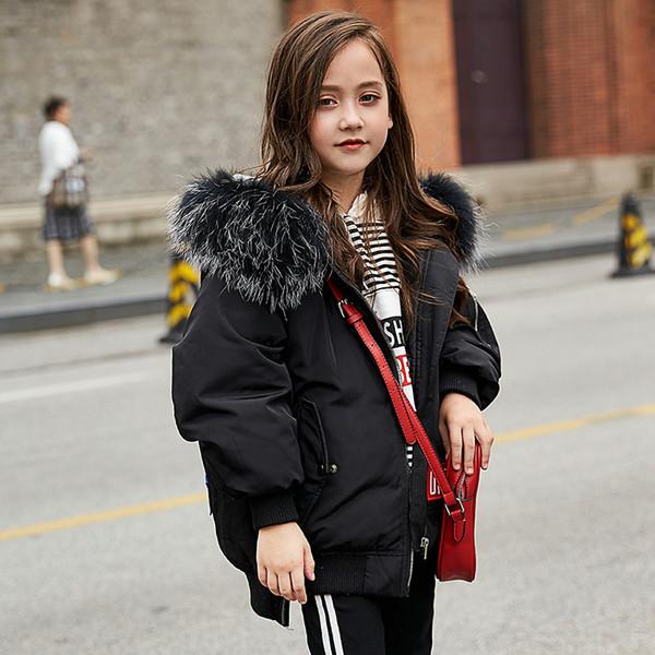 Çocuk Aşağı Kapşonlu Ceket Kaban Erkek Kız Kış Giyim Giyim Genç Okul Ceketler Coats Erkek Parka Çocuk Coat Kürk Hood