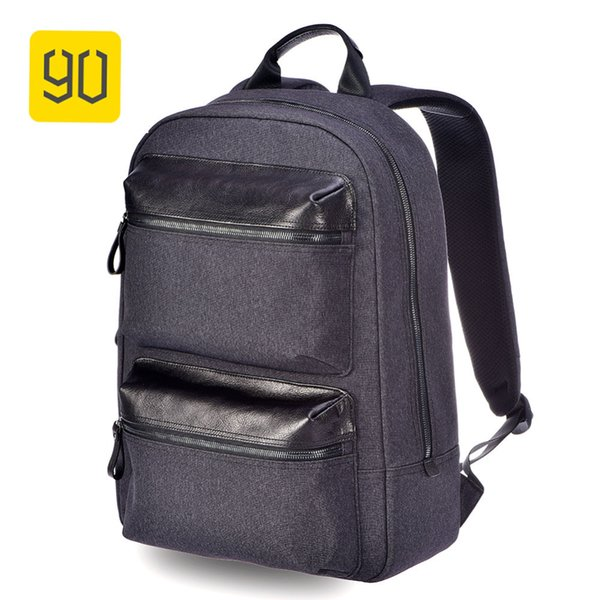 """Xiaomi Ecosystem 90FUN Business Multi-purpose Backpack Water Resistant Daypack 15"""" Laptop Bag Leather Pocket for Man, Black"""