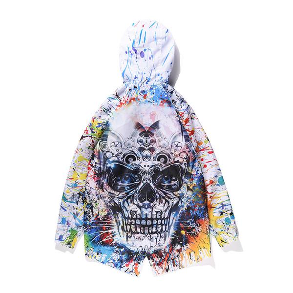 ONSEME Harajuku Style Hooded Trench Coat Men/Women Rainbow Paint Skull Pattern Printed 3D Hoodies Zipper Outwear Jackets Autumn