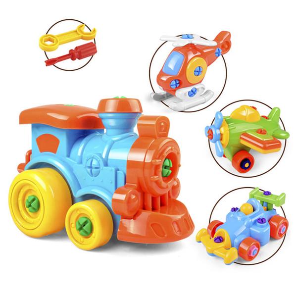 DIY Disassembling Plane Car Building Blocks Model Tool with Screwdriver Assembled Educational Toys For Children Kids 4 Colors