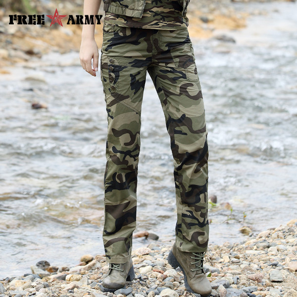 Cargo Pants Women 2017 Combat Pocket Trousers Causal Military Pants For Femme Army Fashion Womens Camouflage Pants Female
