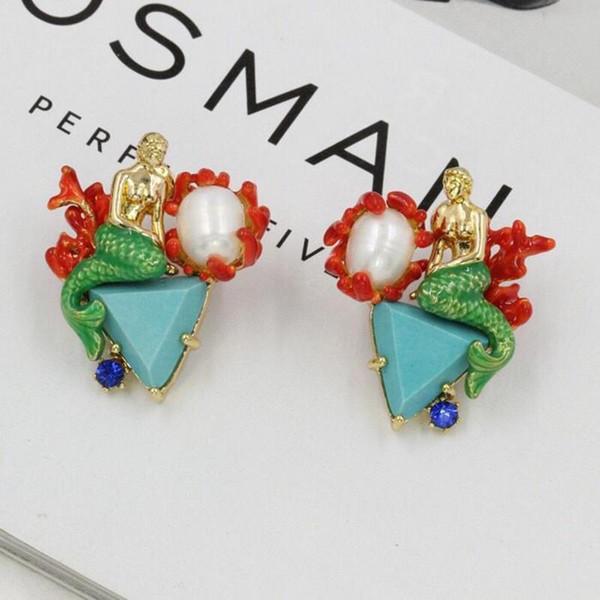 2018 Fashion Amybaby Designer Unicorn White Horse Blue Stone Womens Stud Earrings Necklace Adjustable Ring Enamel Glaze Jewelry
