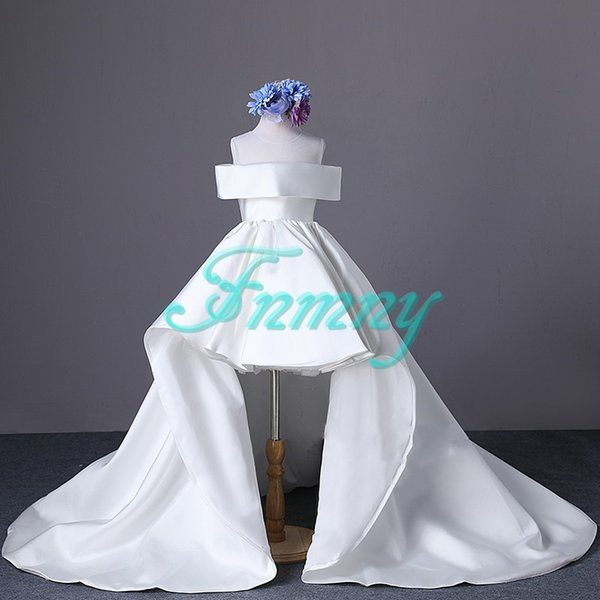 New Princess Fantastic White Strapless Flower Girl Dress High Low Kids Formal Weeding Party Dress Girls Pageant Dress