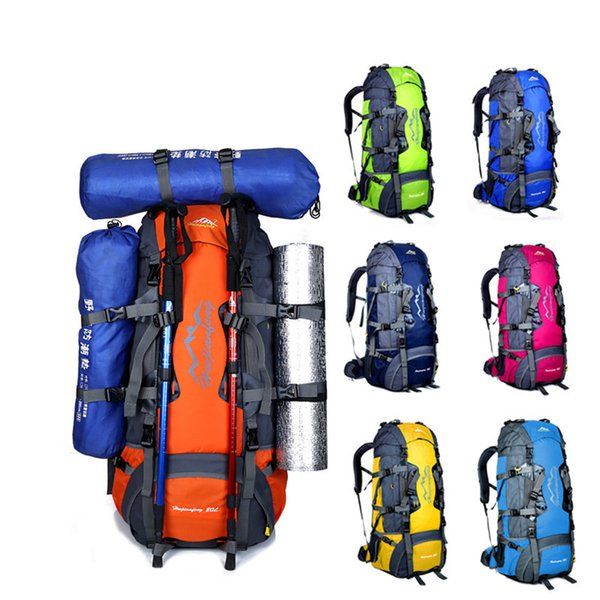 8 colors 80L Large professional outdoor hiking camping backpacks multi function sports double shoulder travel bags free shipping