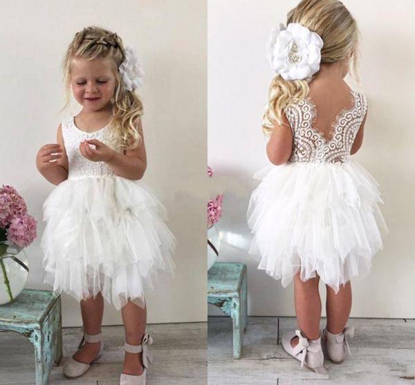 Knee-Length Infant Toddler Flower Girls' Dresses For Wedding white Cute Lace Tutu skirt Little Girls Princess Baby Pageant Dresses