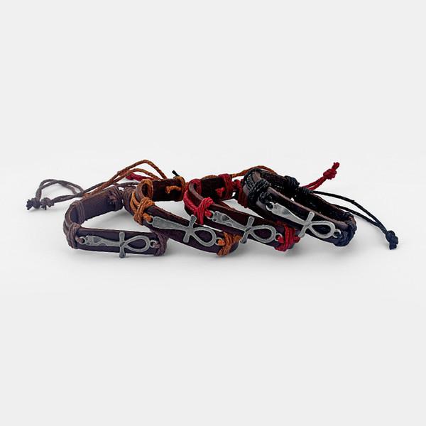 Braccialetto di fascino di Ankh dell'Egnello del cuoio delle donne degli uomini mescolati 12pcs