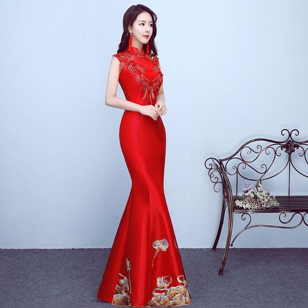 2018 Longo Qipao Vermelho Chinês Tradicional Vestido De Casamento Cheongsam Mulheres Vestidos de Casamento Oriental Robe Orientale Vestidos de Festa