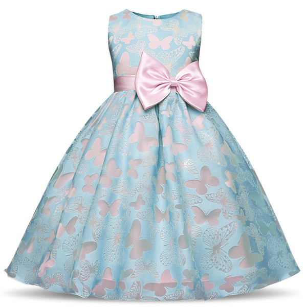Flower Girls Dress Summer New Butterly Kids Girl Wedding Princess Party Pageant Formal Dresses Prom Baby Girl Birthday Clothes
