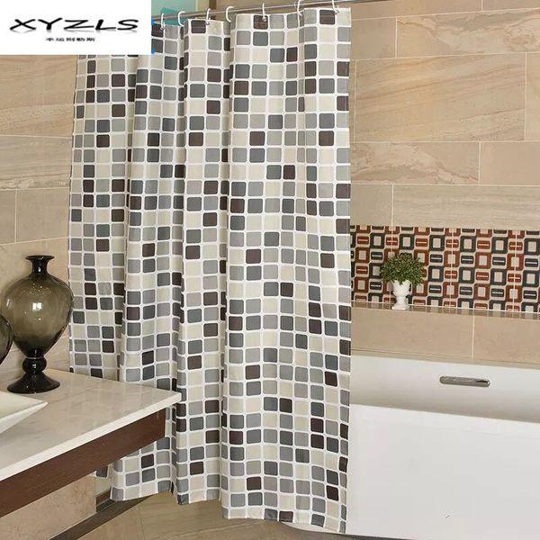XYZLS Modern Plaid Pattern Polyester Fabric Bathroom Curtains Eco-friendly Waterproof Thicken Shower Curtain Bathroom Product