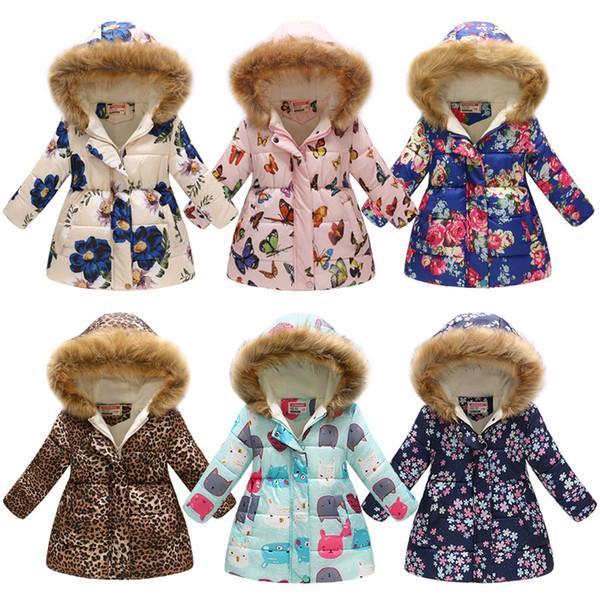 Bebek kızlar Kalınlaşma Çiçek Dış Giyim kelebek Çiçek Leopar Baskı Aşağı Ceket Çocuklar Kış Giysileri Butik Kapüşonlu Ceket 15 renkler C5408