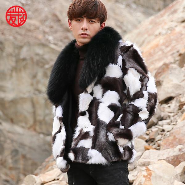 Abrigo de piel de zorro real para hombre del nuevo diseño de moda 2018 con cuello de piel de mapache