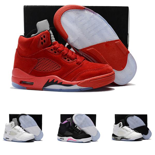 Acheter Nike Air Jordan 5 11 12 Retro Avec Boîte Nouveau En Gros 5 Daim Bleu RED Chaussures De Basket Ball Pour Enfants Bébé V 5s Sneakers Enfants