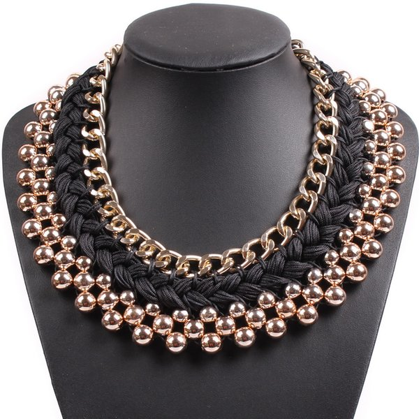 whole sale2017 New Fashion Design Chain String Braided Chunky Statement Bib Choker Elegant Gold Color Necklace Collar For Women Jewelry