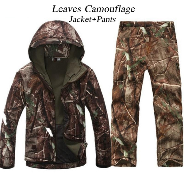 Outdoor Camouflage Man Winter Waterproof Shark Skin Fishing Trousers TAD Tactical Soft Shell Hunting Jackets Pants Set Army Suit 2019