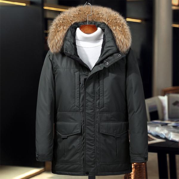 Männer Mittleren Für Großhandel Halten Langen Mantel Thermische Daunenjacke Grad Russland Winterjacke Pelzkragen Warme Schnee Echten 40 Dicke vmN80wn