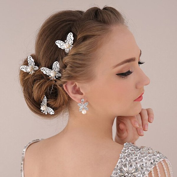 High Quality Hair Jewelry Accessories Wedding Bridal Bridesmaid Red White Metal Butterfly Hairpin Headpiece Hair Clip Tiara