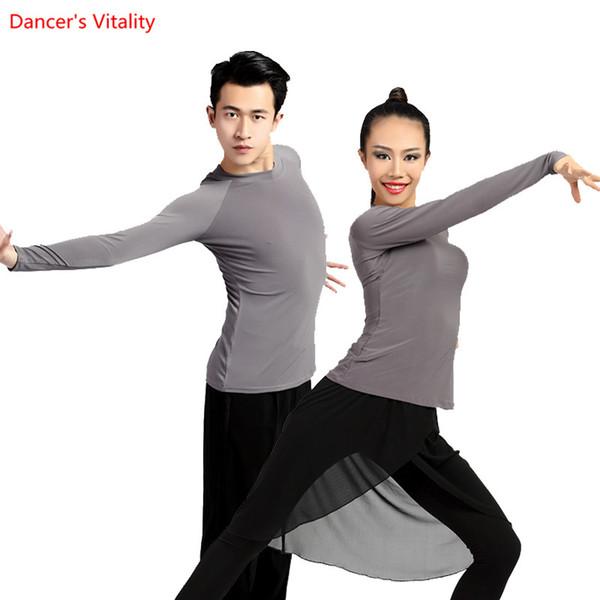 Top de baile latino para hombres y mujeres Camisas de baile de manga larga Salón de baile / Cha Cha / Samba bailando Practica de disfraces Ropa