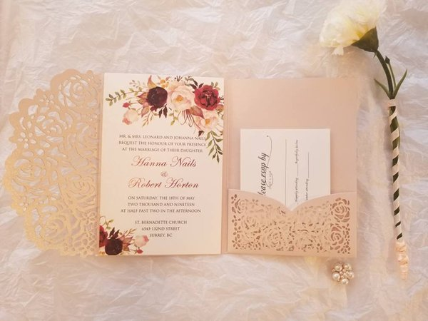 Blush Pink Laser Cut Trifold Wedding Invitation with RSVP Card, 20+Color Customizable Baby Shower Invites, Free Shipped by DHL
