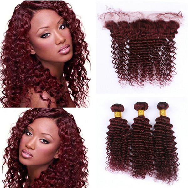 Hot Selling Wine Red 99J Deep Wave Hair Bundles With Lace Frontal Closure Brazilian Burgundy Virgin Human Hair Weaves With Full Lace Frontal