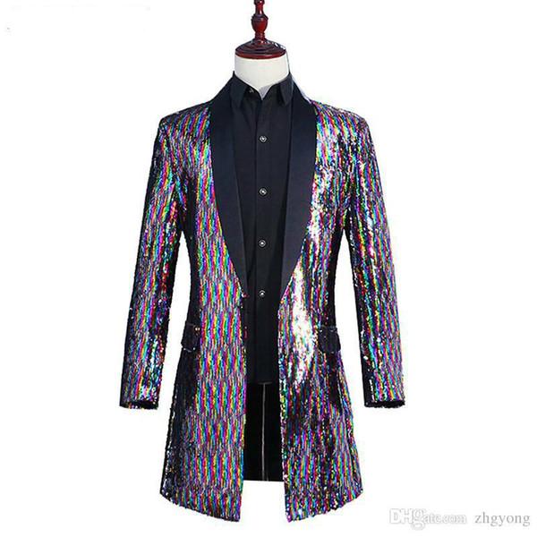Men Rainbow Color Long Coat Colorful Flipping Sequins Windbreaker Outerwear Tide Male Singer Punk Dancer DJ Concert Host Performance Costume
