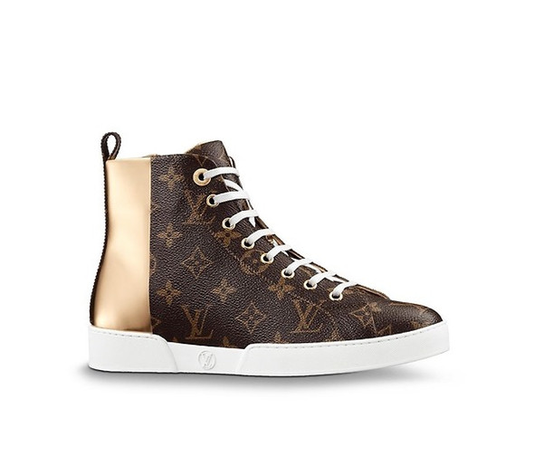 Stellar Sneaker Boot Classic High Top Sneaker Canvas Sneakers calf leather and a side zip for easy fitting boots for women designer shoes