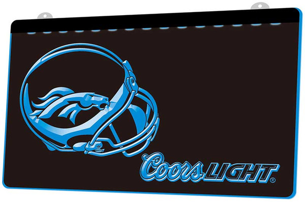 LS891-b-Denver Broncos Helmet Coors 3D LED Neon Light Sign Decor Free Shipping Dropshipping Wholesale 6 colors to choose